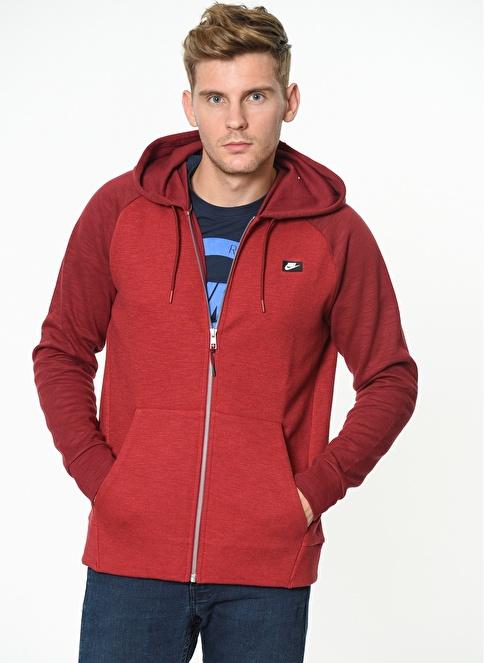 Nike Kapüşonlu Fermuarlı Sweatshirt Kırmızı